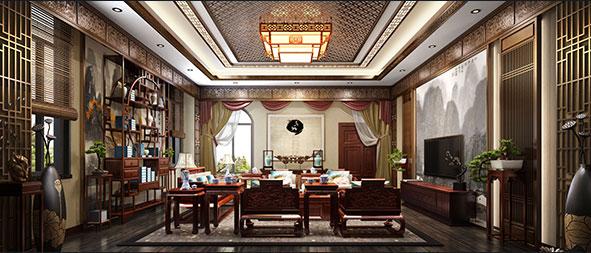 600平独栋别墅新中式风格3D设计效果图