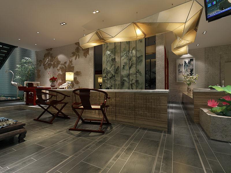 新中式会所酒店大堂设计方案