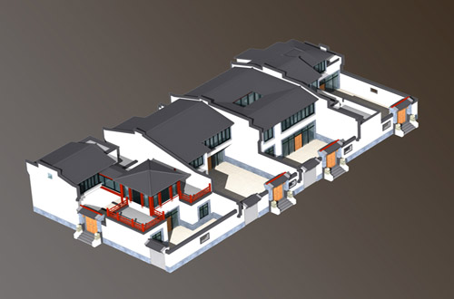 北方中式设计四合院建筑带效果图