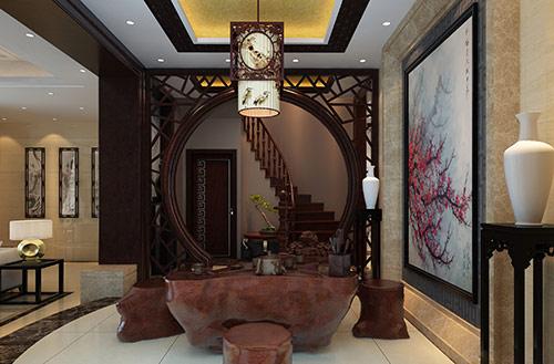 茶室中式装修效果图 茶室中式设计实景图