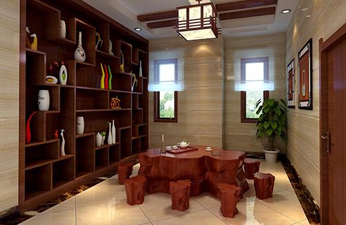 简约的东南亚中式风格茶室装修效果图图片