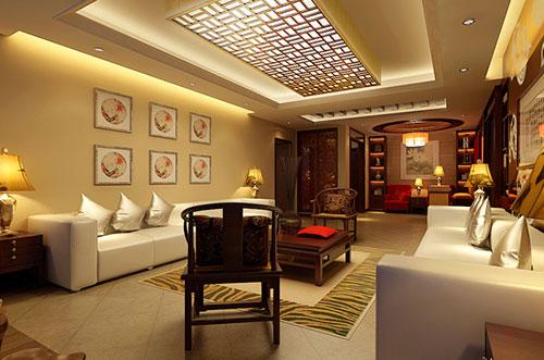 吕梁以暖色为主的室内新中式设计
