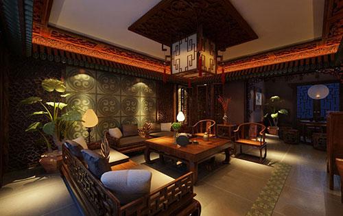 夜景下的中式古典别墅设计效果图