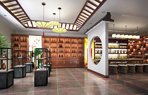 通州200平米茅台酒中式店面展厅设计效果图