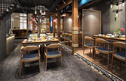 吉林300平极简中式风格装修餐厅设计效果图