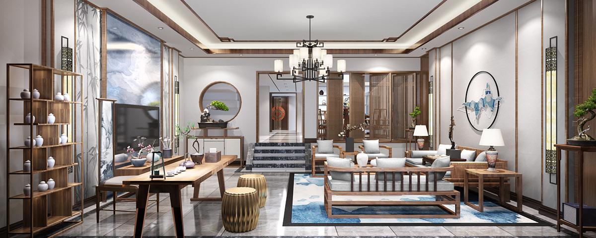 南京王总300平极简约中式别墅设计效果图