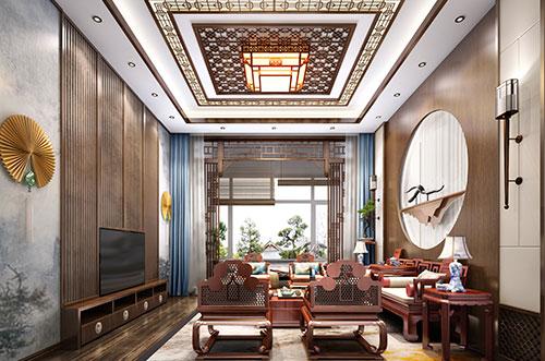 天津蓟县320平米叠层别墅新中式设计效果图