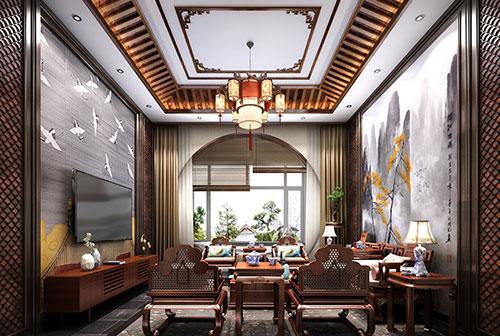 新中式风格客厅壁纸装修效果图