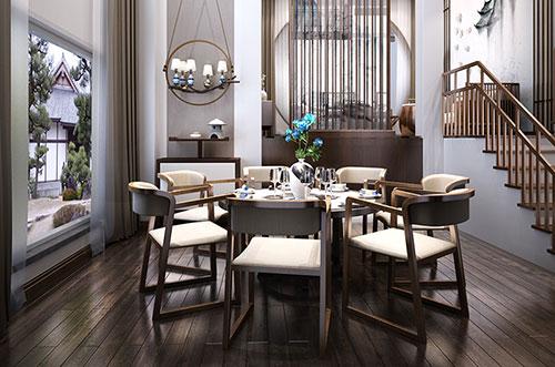 禅意极简中式风格餐厅装修效果图