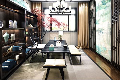 自建别墅家庭简约中式茶室装修效果图