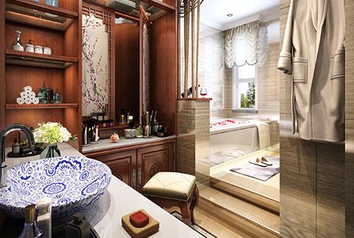 别墅简约中式卫生间装修效果图大全