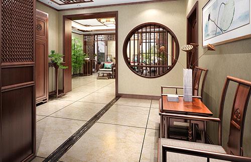 别墅古典中式门厅过道装修效果图