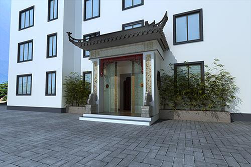 徽派风格白墙灰瓦门头建筑装修效果图
