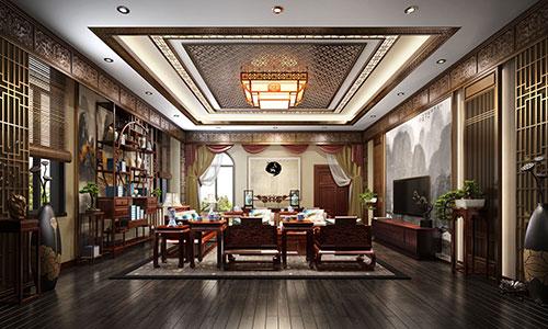 唐山500平独栋新中式风格别墅中式装修效果图