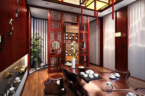 浙江舟山刘总50平办公室茶室古典风格装饰效果图