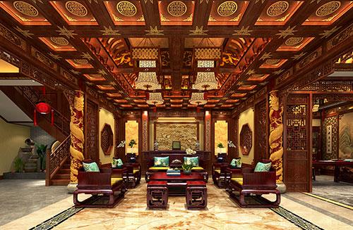 内蒙古800平古典中式四合院会所设计装修效果图
