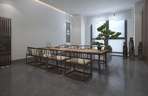 北京165平极简禅意国药洽谈接待茶室设计效果图