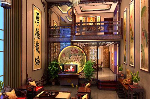 青岛翰墨书香的中式别墅装修设计的雅意人家