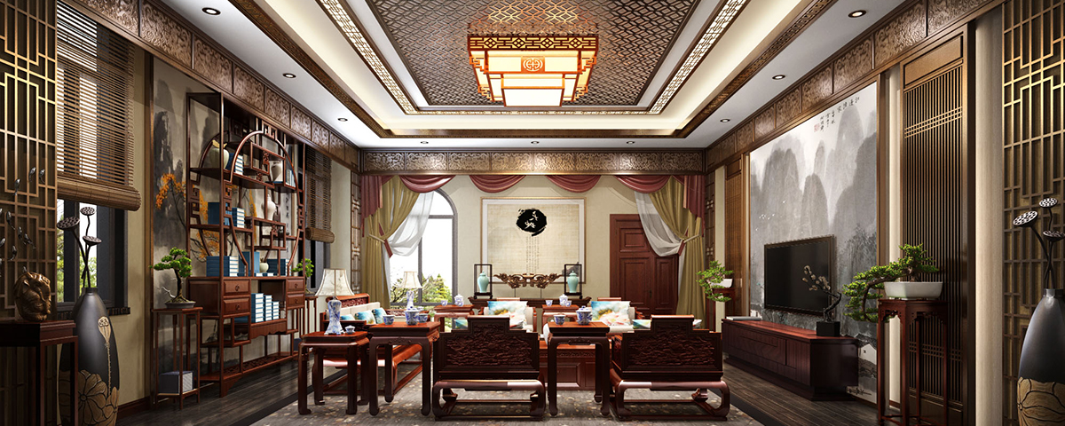 500平独栋新中式风格高端别墅装修效果图