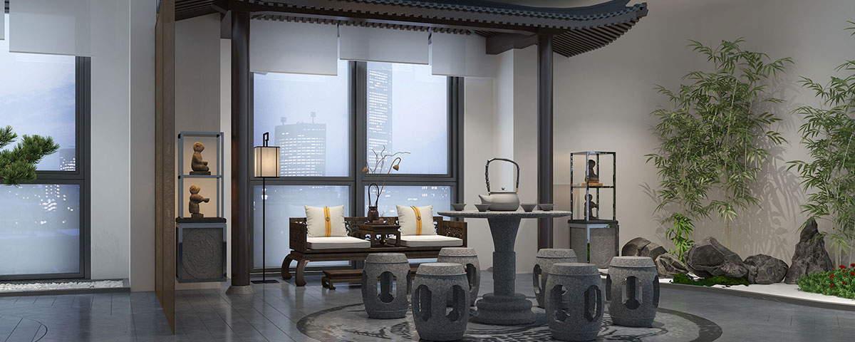 西安500平新中式风格禅茶会所装修设计效果图