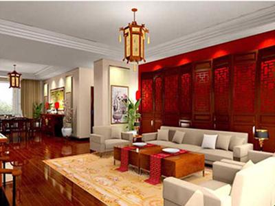 新中式风格婚房的客厅装修设计保留着中国古典文化的深厚底蕴,并一改