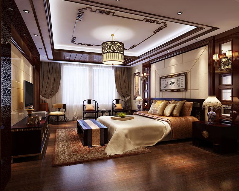 中式设计公司主卧室装修效果图