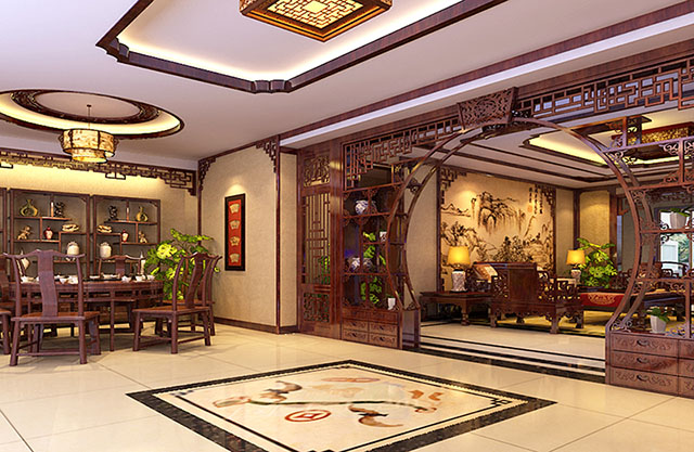 中式古典装修风格——施工以及中式客厅效果图