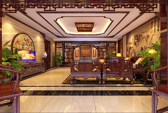 中式客厅装修效果图的一角