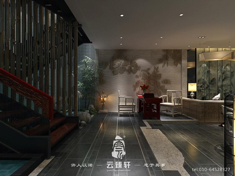 新中式会所酒店大堂设计方案图片