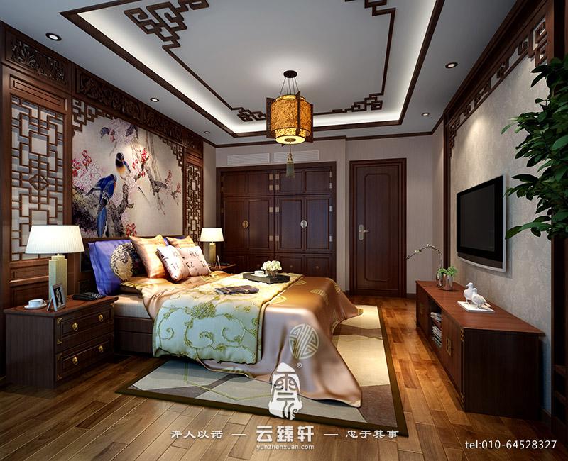三室两厅之新中式卧室样板间