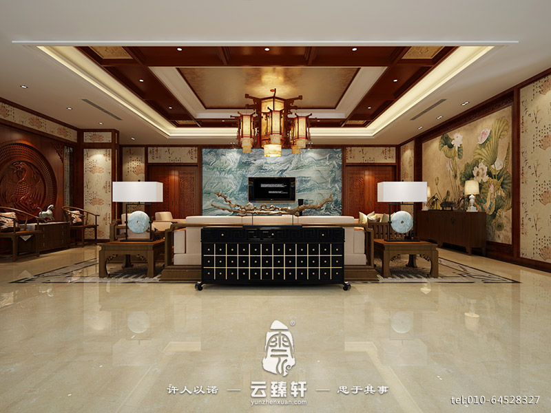 中式别墅设计 新中式装修效果图高清图片