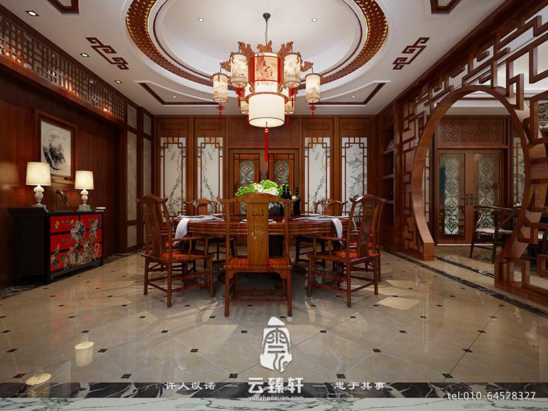棕红木天花,抽拉柜,木质背墙,使整个风格统一和谐,浑然一体,中式餐厅图片
