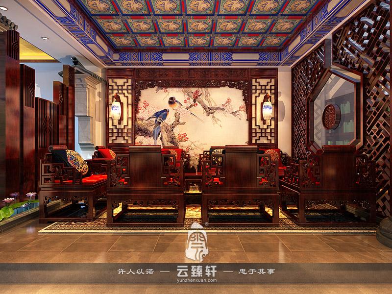 中式茶楼的大厅装饰效果图