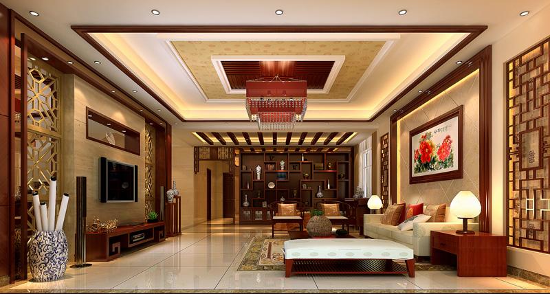 新中式风格别墅效果图设计图片