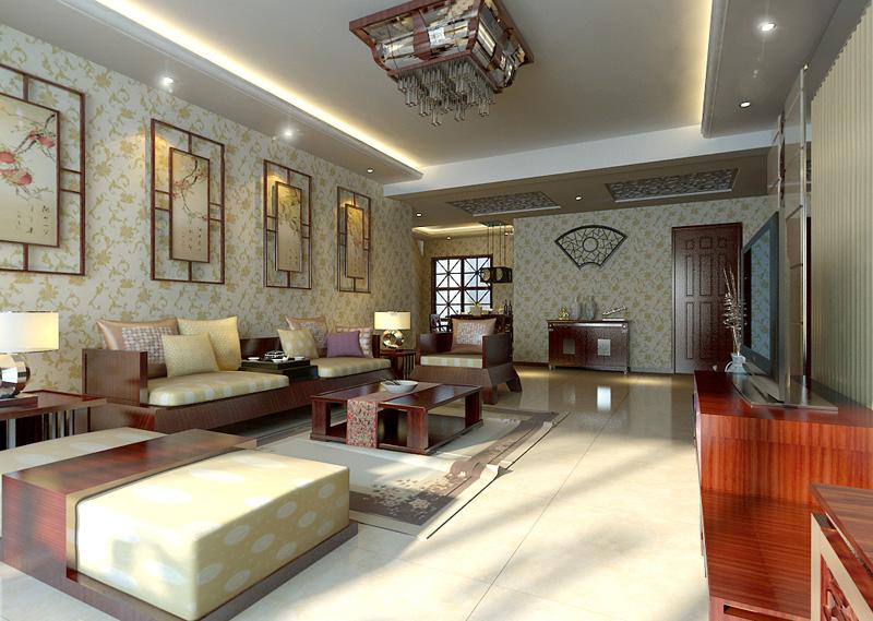2015现代简约中式效果图设计现代中式客厅