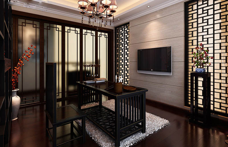 新中式书房效果图展示