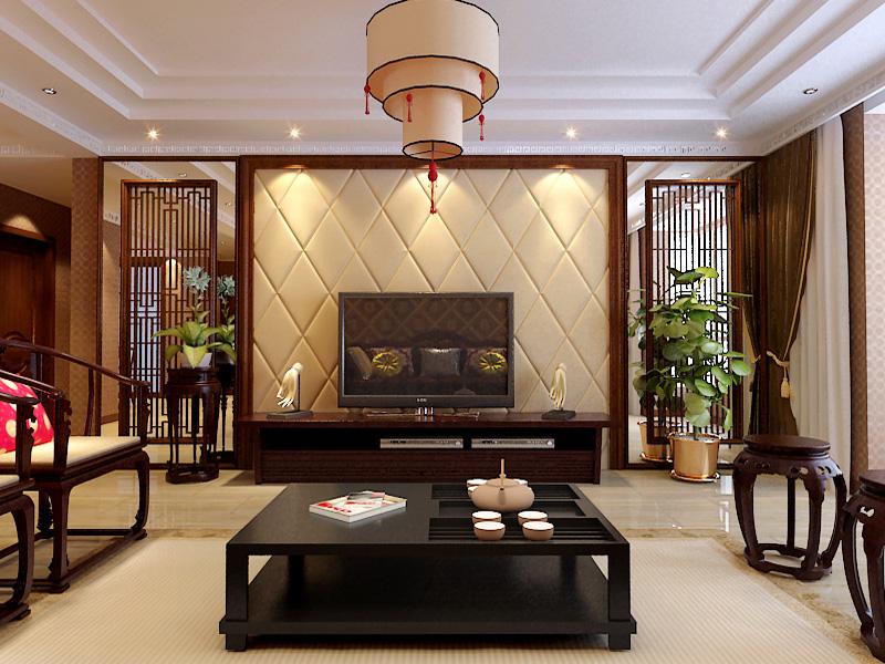 中式东南亚别墅设计客厅电视背景墙设计