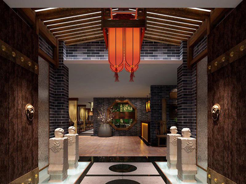 这套中式餐厅设计中,设计师在对传统文化精髓进行探究的同时,吸收了现代的设计理念,将古代传统文化提升、凝炼,演变成一种现代时尚的、具时代特点的新风格并突出强调地域特色。月的木门、精美的纱幔木格窗棂、古木家具、石板地面,置身于这样一个休闲空间,会让人方了现代都市的喧嚣与繁忙,而沉浸于自然、古朴、舒适的茶文化氛围中。