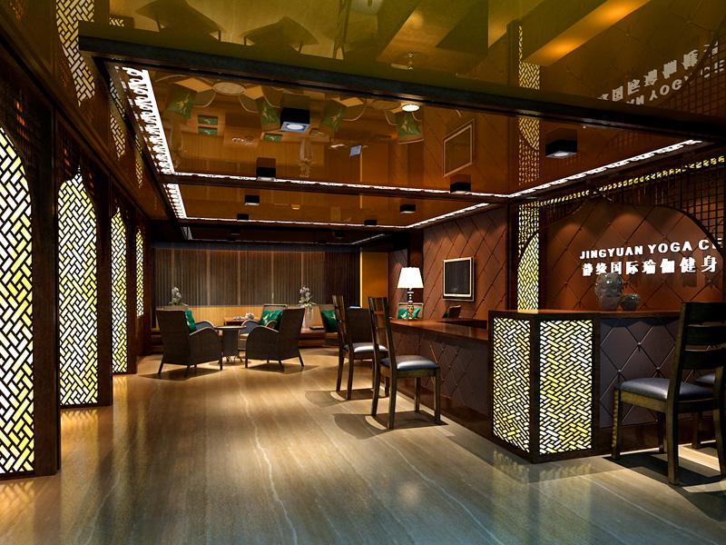 这里的会所将中式建筑的特色都表现出来:木栅格背景包,实木的桌椅