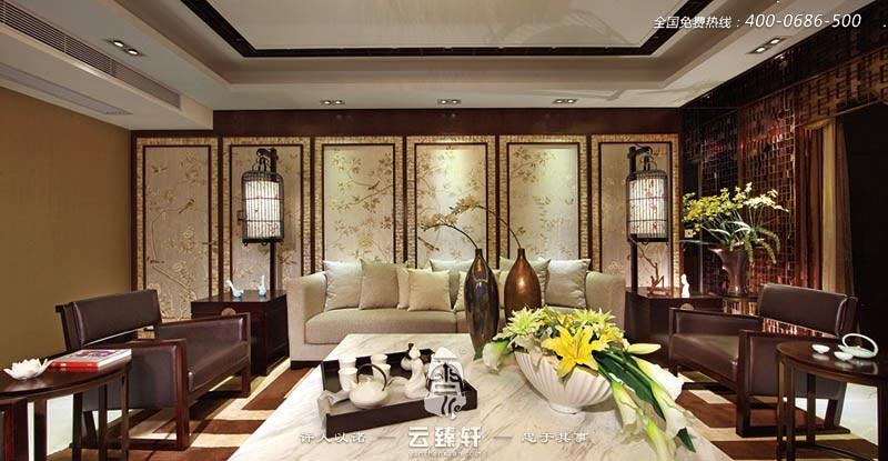 沉静优雅现代中式别墅装修设计效果图