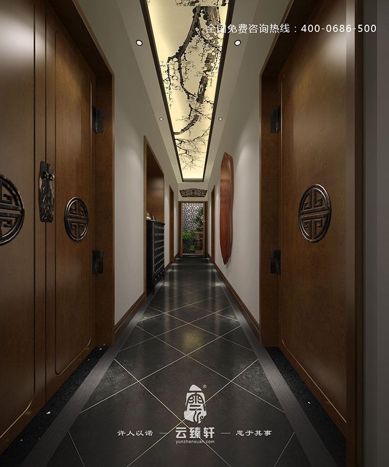 中式风格的茶室装修走廊效果图图片