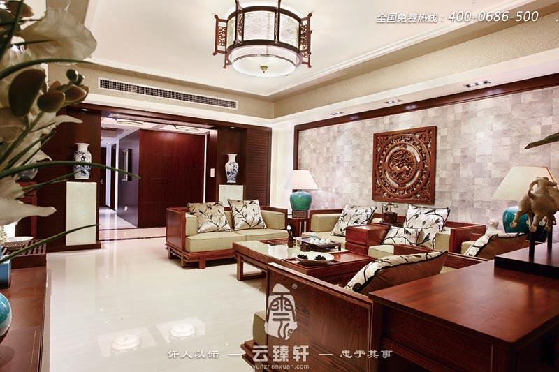 优雅宁静的新中式风格客厅设计装修案例