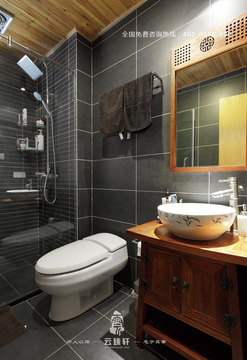 红木家具的洗手柜,新中式卫生间的装修别有一番韵味