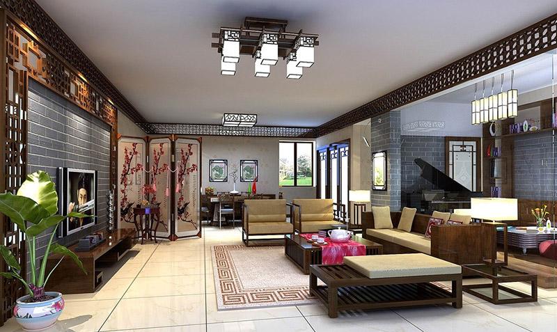"""中式装修的家居室内里,一首好歌曲,是讲究流畅通达的。在家居装饰中,流动通畅的美感表现在""""曲线通幽""""、""""互为借景""""及""""统一的风格色调及材质""""等方面。所谓""""曲线通幽"""",即在装饰中尽可能地消除冷硬的直角、拐角和横、竖、直的结构与线条。"""