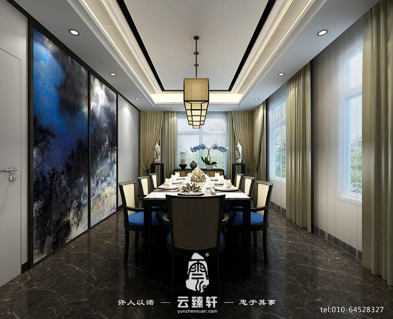 简约白色的新中式家庭餐厅装修效果图