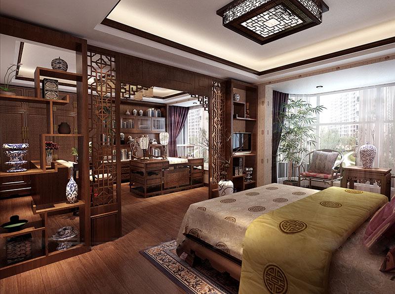 与卧室兼顾型中式书房装修效果图_北京云臻轩中式设计