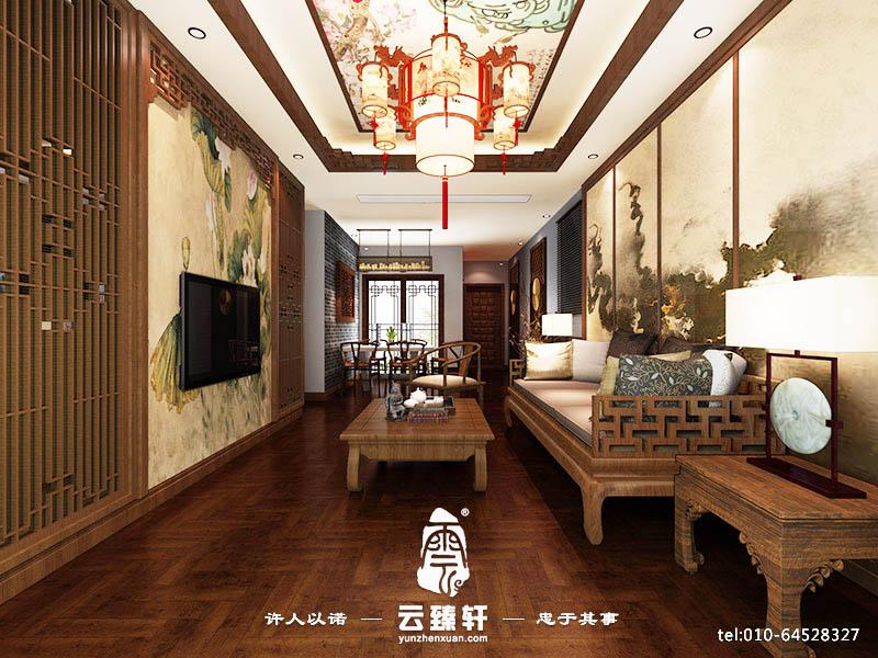 中式客厅镂空木格纹背景墙装修设计
