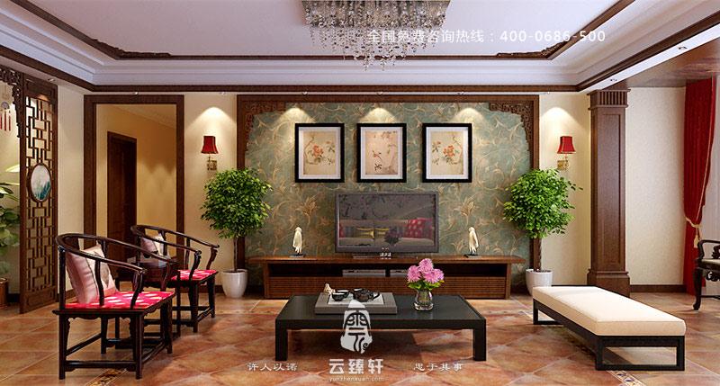 附有书香气息的中式客厅电视背景墙装修效果图图片