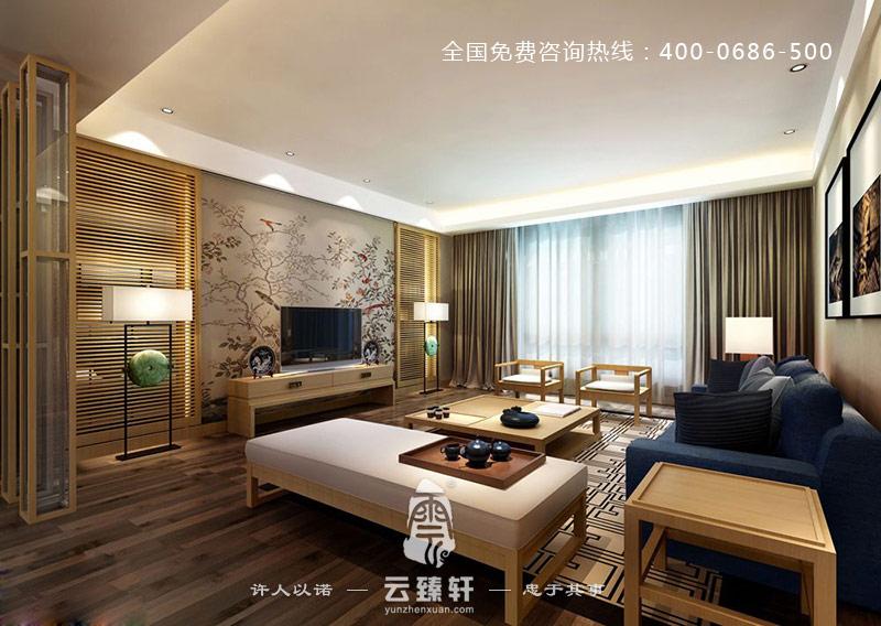 以鸟语花香为电视背景墙的新中式客厅配上原木色桌椅,茶几,屏风