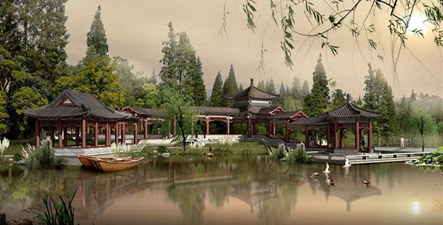 中式设计园林的障景
